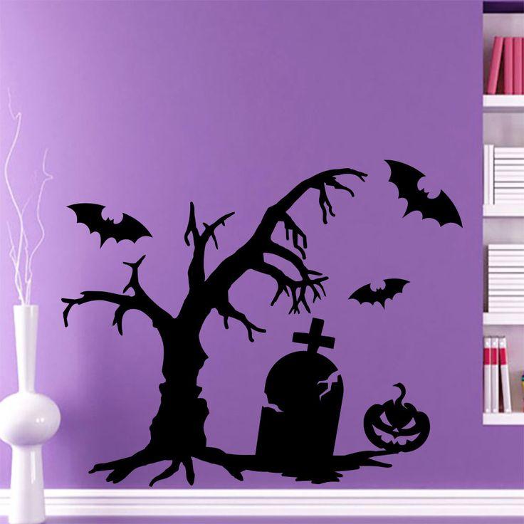 Wall Decal Halloween Tree Bat Pumpkin Grave Art Decals Sticker Home Decor AM147 #Stickalz