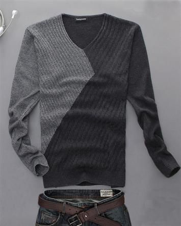 Fashion Cotton Blends Two Tone Pullover V Neck Long Sleeve Slim Winter Warm Men Sweater