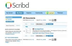 Otra herramienta muy útil es Scrib. Con ella podemos subir documentos directamente a internet y después incrustarla en nuestro blog, por ejemplo.  http://es.scribd.com/