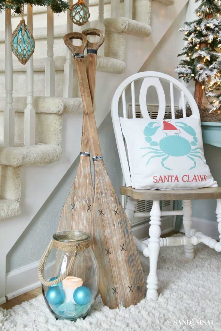 Nautical Christmas Decor - Santa Claws Pillow