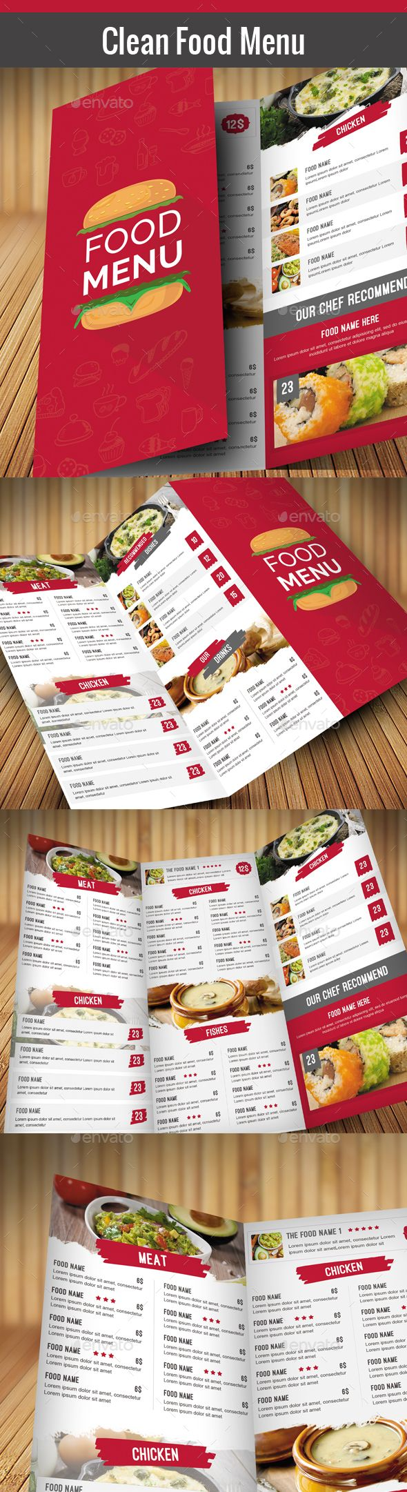 Clean Food Menu Template PSD #design Download: http://graphicriver.net/item/clean-food-menu/14419400?ref=ksioks