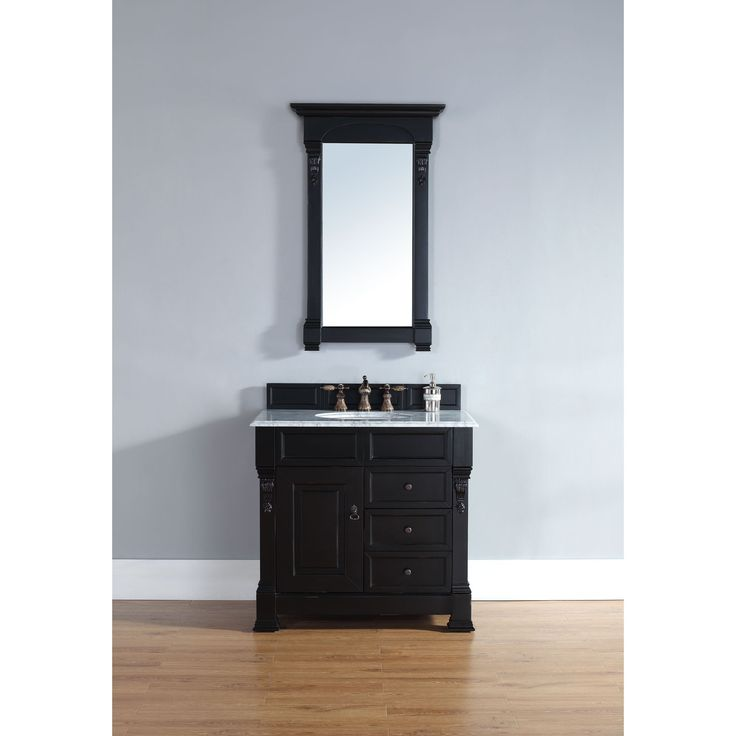 Exceptional James Martin Furniture Brookfield Antique Black 36 Inch Single Cabinet 2 Drawer  Vanity (Carrera White), Grey, Size Single Vanities