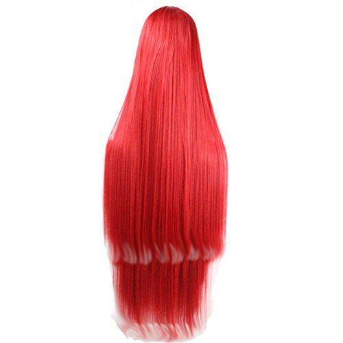 HSG Mode Parti Cosplay l'eau douce longue perruque rouge 100cm + chapeau de perruque droite pour les femmes TF264: 100% de qualité…