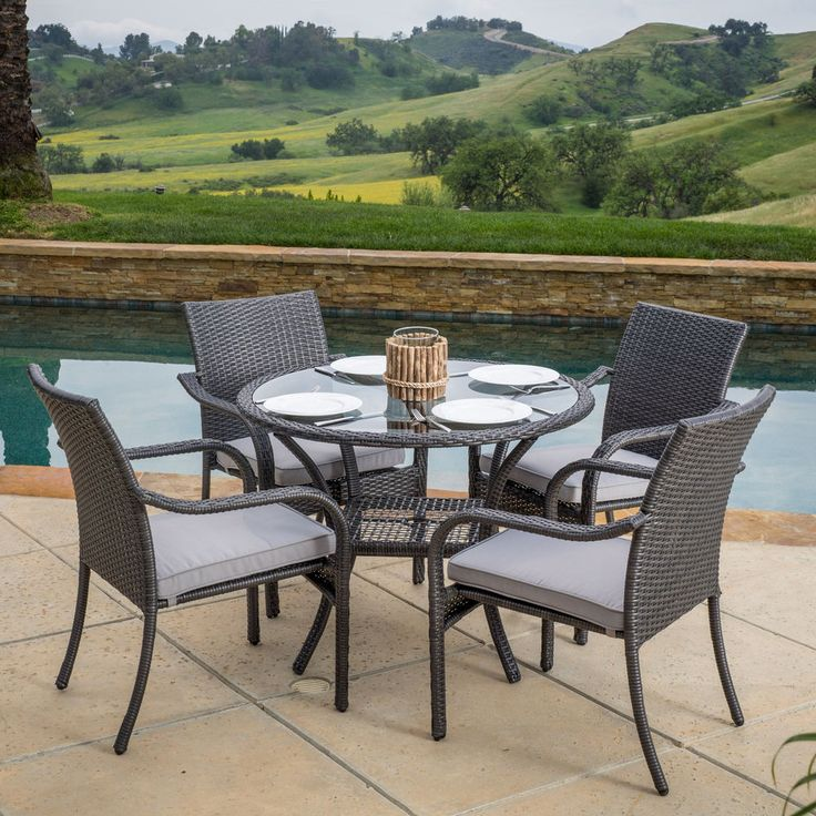 Attractive Outdoor Patio Furniture Sale Wicker 5 Piece Dining Set W/Cushions Deck Pool  Yard