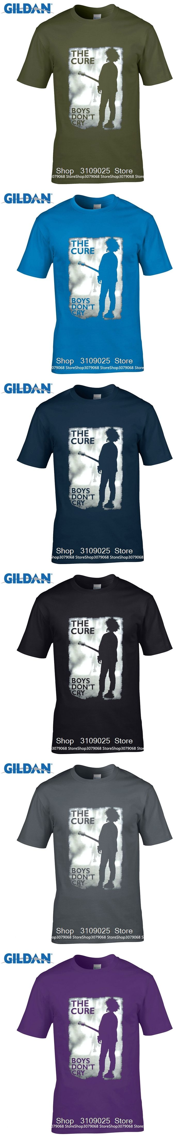 GILDAN DIY Style mens t shirts Printed Men T-shirt Short Sleeve  Tee Shirts The Cure Boys Don't Cry Grey Image Black T Shirt
