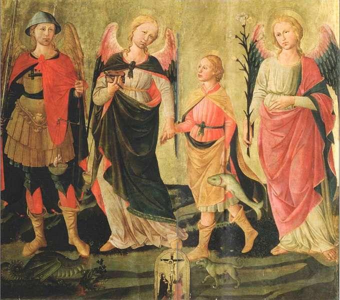 Доменико ди Микелино (1417–1491) Три архангела и Товий. Около 1465. Дерево, темпера/