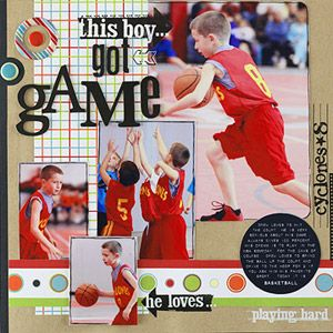 Repeat Basketball-Theme Shapes for EmphasisBasketbal Scrapbook Pages, Scrapbook Ideas, Sports Layout, Sports Scrapbook, Basketball Scrapbook, Scrapbook Sports, Scrapbook Layout, Action Shots, Scrapbooking Layouts