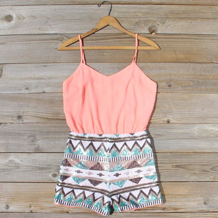 Crystal Wishes Romper in Peach, Sweet Lace Rompers from Spool - tween fashion - tween clothing