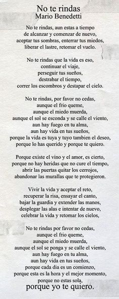 """Poema """"No te rindas"""" de Mario Benedetti. Citas de amor para una dedicatoria de San Valentín perfecta."""