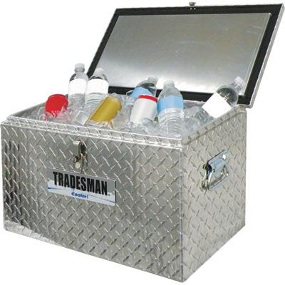 Tradesman Truck Locking Aluminum Diamond Plate Cooler — 48-Quart Capacity | Coolers