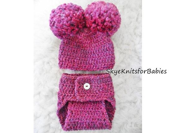 Crocheted Baby Pom Pom Hat and Diaper Cover Set, Choose Any Color, Beautiful Photography Prop