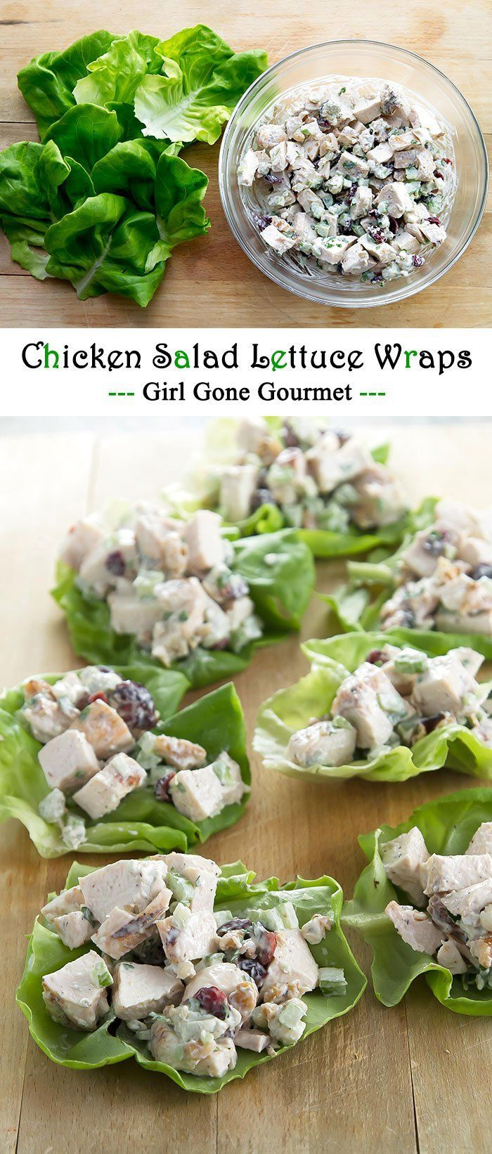 Delicious chicken salad with creamy mayo, grilled chicken, fresh herbs, dried cranberries, walnuts, and blue cheese. Wrap it up in a butter lettuce leaf and you've got lunch!   girlgonegourmet.com
