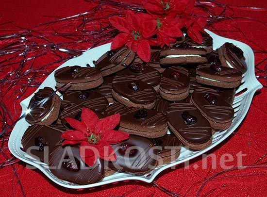 Kakaové oválky s krémem dia