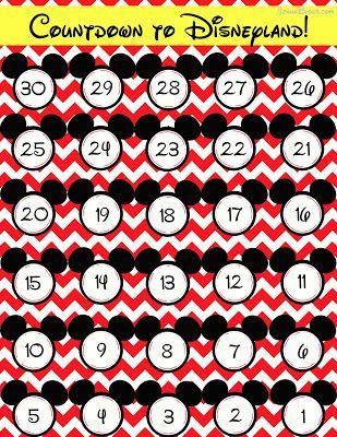 FREE DisneyLAND countdown calendar
