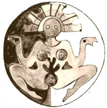 Pachamama is the Incan Goddess of fertility, planting and harvest.  I love how one breast is the sun and the other is the moon and stars.  The sun appears to bloom on the plant growing from the seeds in her womb.  Cool.