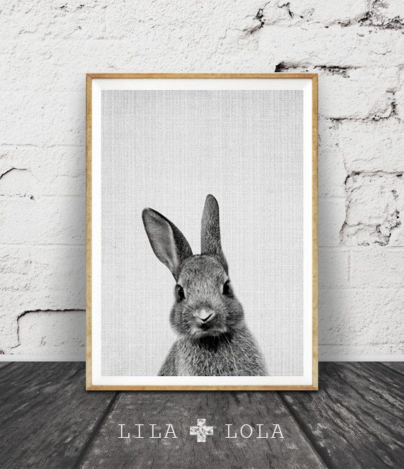 Wilderness #9 is a contemporary downloadable print, featuring a minimal black and white rabbit on a grey textured background.  Its as easy as 1, 2,