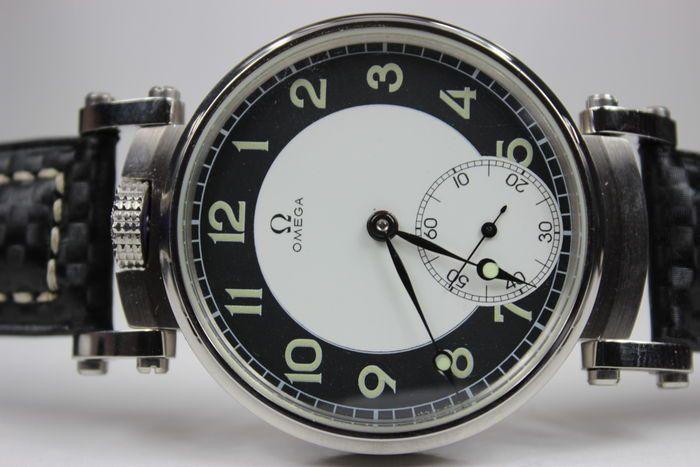Omega - Mariage Men's watch - unieke militaire 1938  OMEGA - dit horloge is geconverteerd vanuit een zakhorloge in een nieuwe horloge behuizing.Behuizing:Nieuw aangepast aan het verkeerDiameter 46 mm staalMovable geschroefd barsMineraal glas. (niet Omega).Verkeer:Omega ondertekendHoge kwaliteit kaliber 385 LT1 door Omega Zwitserse 15 juwelen serienummer 8963353.Het historische mechanisme ondertekening Omega dateert uit 1938 uitstekende staat werkt perfect.Kiezen:Originele porselein…