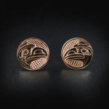 Gold Haida Raven Studs / Earrings by Carmen Goertzen