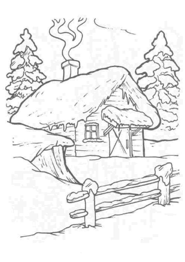 124 best COLORIAGE HIVER images on Pinterest Winter, Coloring - Dessiner Maison D Gratuit