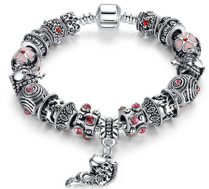 Fish Charm Bracelet 925 Tibetan Silver Murano Glass (1041BMC) - mebyme - 1