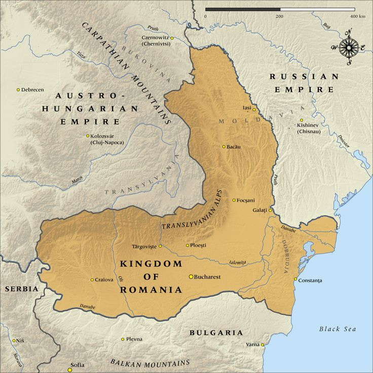 Map of the Kingdom of Romania in 1916