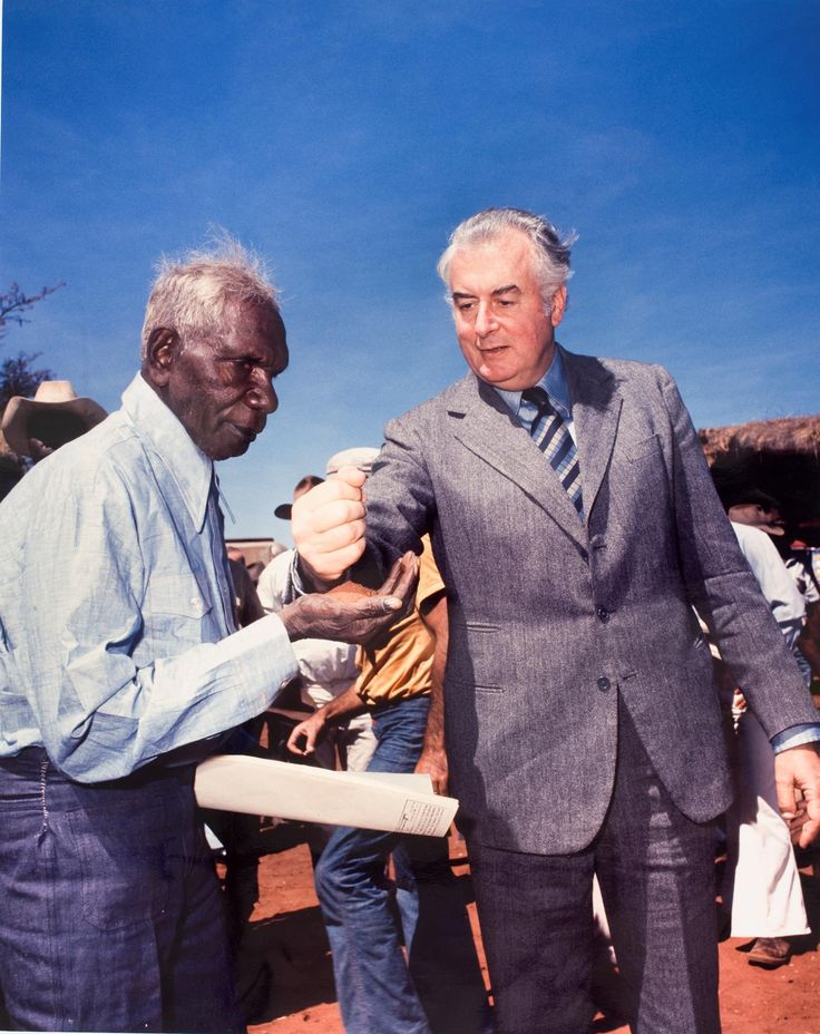 Australian Prime Minister Gough Whitlam pours sand into the hands of Gurindji leader Vincent Lingiari after the introduction of the Aboriginal Land Rights Act 1975. [1458 x 1839]