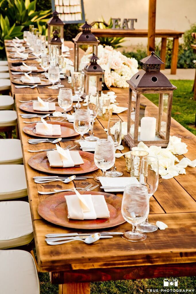 Farm Tables And More San Diego Wedding Rentals Wedding Decorations Rustic Wedding Decorations Rustic W Farm Table Rustic Table Decor Rustic Wedding Table