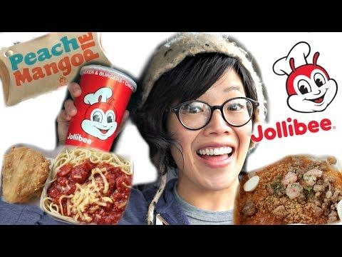 Emmy's FIRST Taste of JOLLIBEE! | Chickenjoy, Spaghetti, Fiesta Palabok, Peach Mango Pie - YouTube
