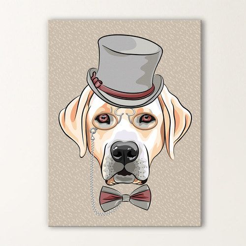 Voil un dandy qui a du chien tableau original d 39 un for Decoration murale hipster