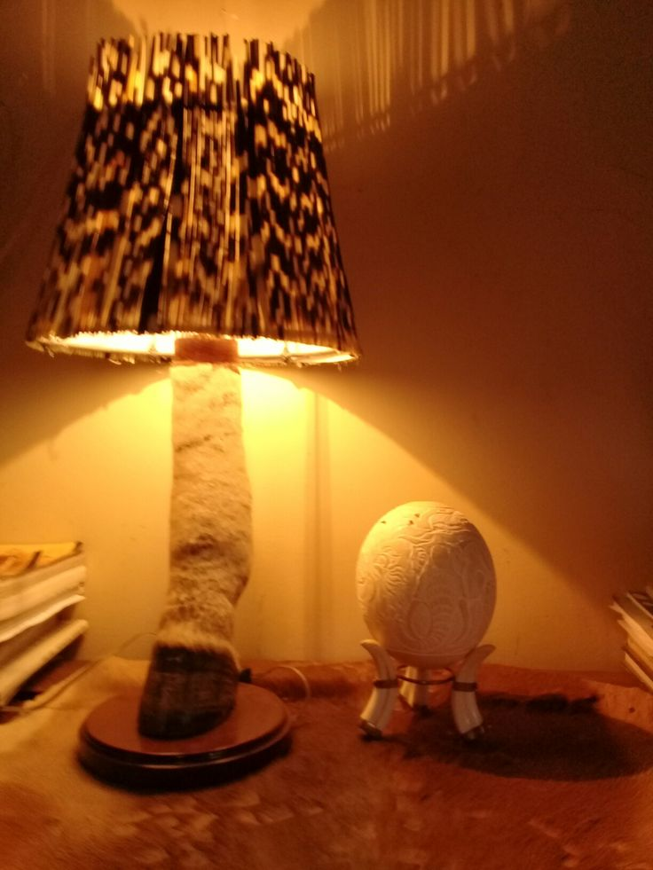 Porcupine quills lampshade on a Zebra lampstand by Alfred Dube.
