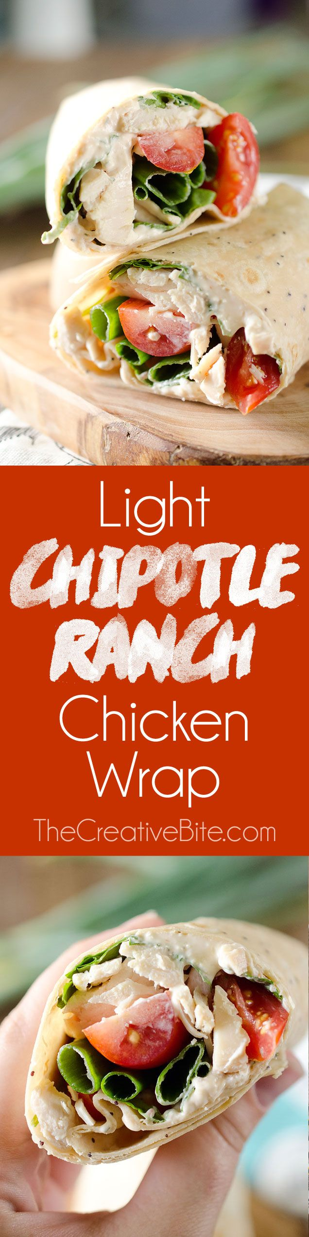 Light Chipotle Ranch Chicken Wrap is an easy wrap with rotisserie chicken, tomatoes, spinach, green onions and a spicy Chipotle Greek yogurt sauce for a healthy lunch! #Chicken #Wrap #Lunch (recipes with chicken rotisserie)