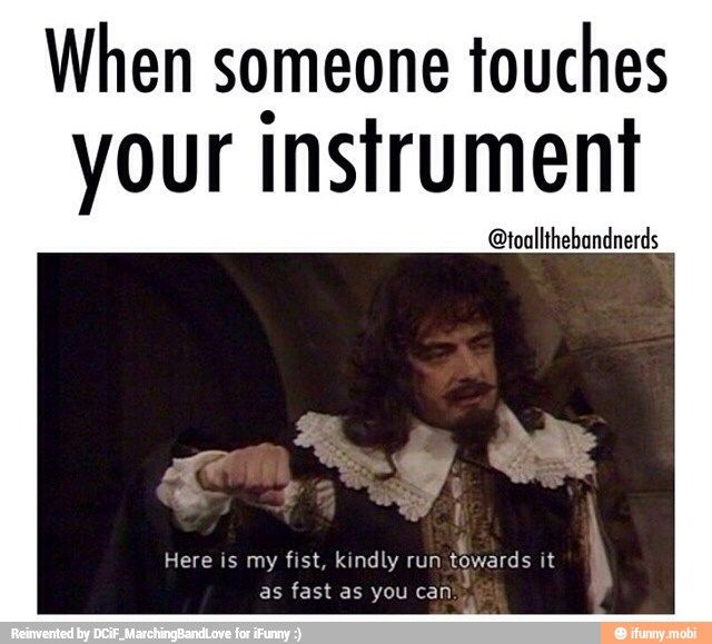 Reminds me of the good ol' saxophone days in 6th grade. Touching someone else's instrument was an offense punishable by death. XD