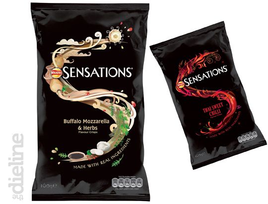 "Sensations, a popular Irish potato chip brand, recently overhalled its design from a traditional white background to a more humble black background with a creative ""S"" logo. The ""S"" is comprized of the ingredients used for each specific flavor. It invokes natural flavors, using the image of the ingredients descending from the heavens."