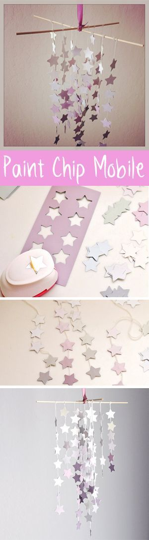Pretty paint chip mobile - this would be lovely this glitter cardstock, too!