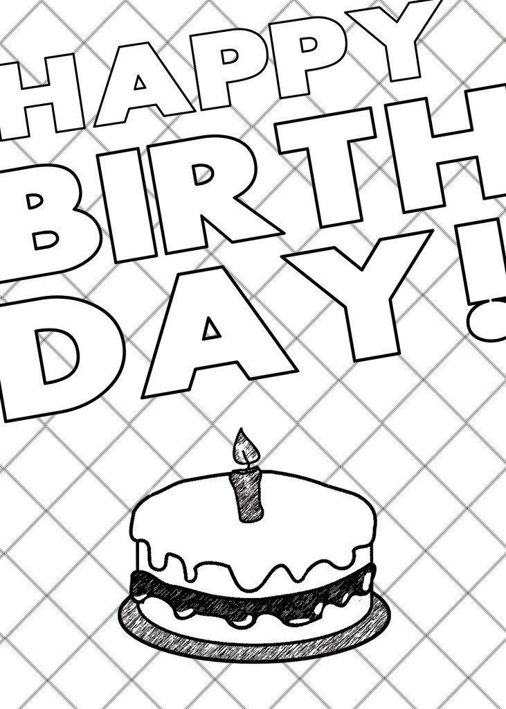 - Printable Coloring Card Download - Happy Birthday/Cake Printable Coloring  Cards, Color Card, Printable Coloring
