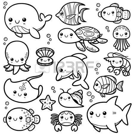 Ilustraci n vectorial de los animales de mar de dibujos animados libro de colorante Foto de archivo