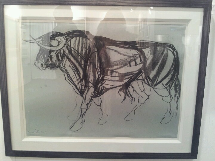 Charcoal picture of a Bull