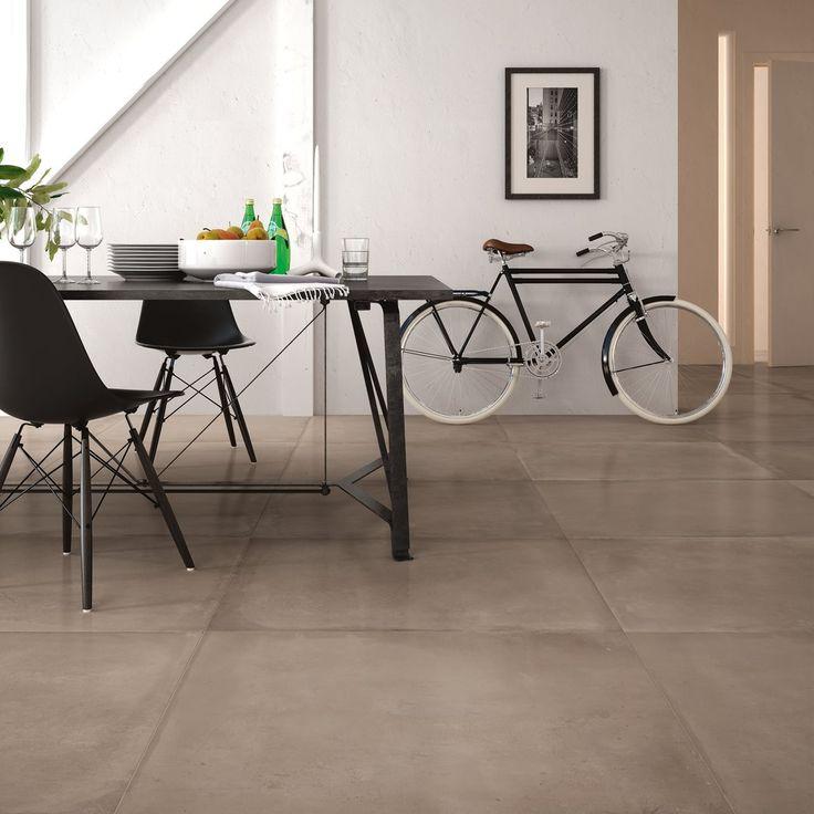 Pehmeä ruskea luo kodikasta tunnelmaa. Lattialaatat: LPC Concrete 500, väri Cappucino │ Laattapiste