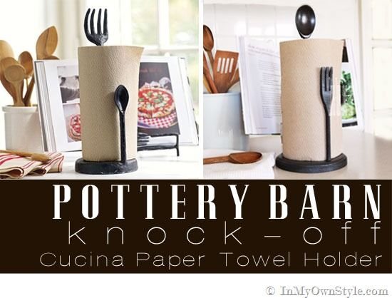 How to make a knock off Pottery Barn Cusina paper towel holder {InMyOwnStyle.com}