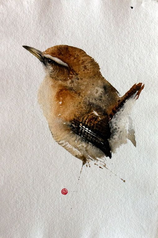 Wren, 56x38 cmKarl Mårtens, Birds Painting, House Wren, Little Birds, Illustration, Karl Martens, Water Colors, Art Painting, Watercolors Painting