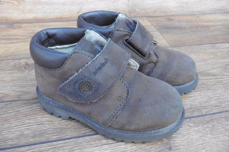 SIZE UK 8 TIMBERLAND BOYS CHUKKA BOOTS WITH VELCRO FASTENING STRAP DARK BROWN