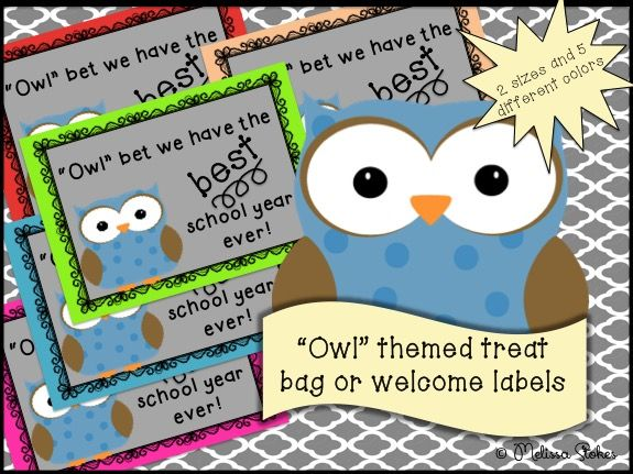 Printable Owl themed back to school treat labels My Classroom