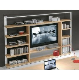 ARCHIMEDE bookcase with 5 shelves and compartment-TV