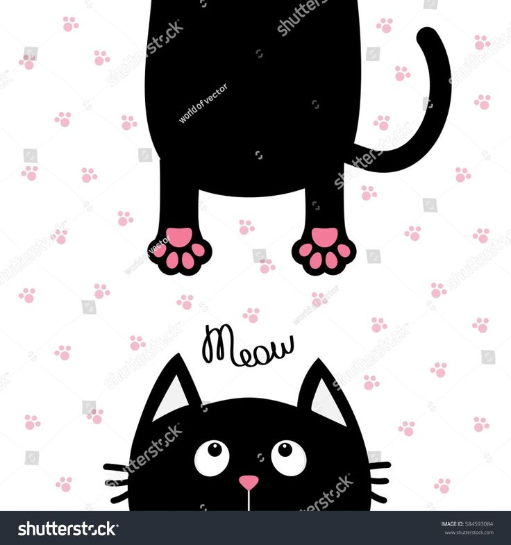Black cat looking up. Funny face head silhouette. Meow text. Hanging fat body tail. Kawaii animal. Baby card. Cute cartoon character. Pet collection. Flat White paw print background. Isolated. Vector #funnycatsfails