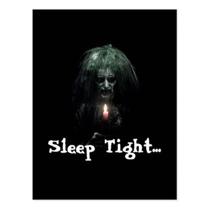 #Sleep Tight... Scary Old Lady Postcard - #Halloween #happyhalloween #festival #party #holiday
