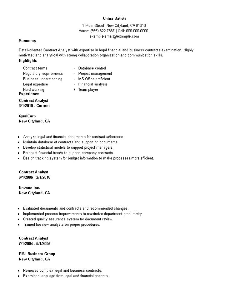 Contract employment work resume in how to create a