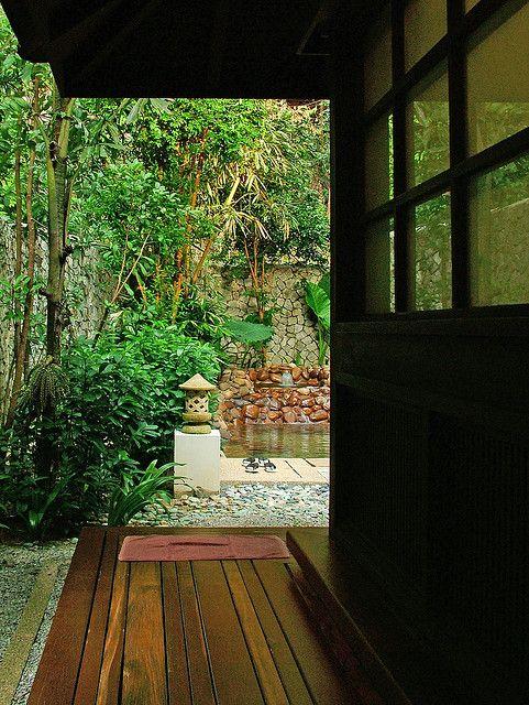 Fabulous Design Of Japanese Bath House: Gorgeous Modern Style Wooden Deck Backyard Japanese Bath House Design ~ enjoyf.com Bathroom Designs Inspiration