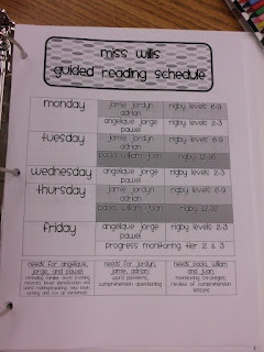 Guided Reading/Progress Monitoring Schedule Sample....