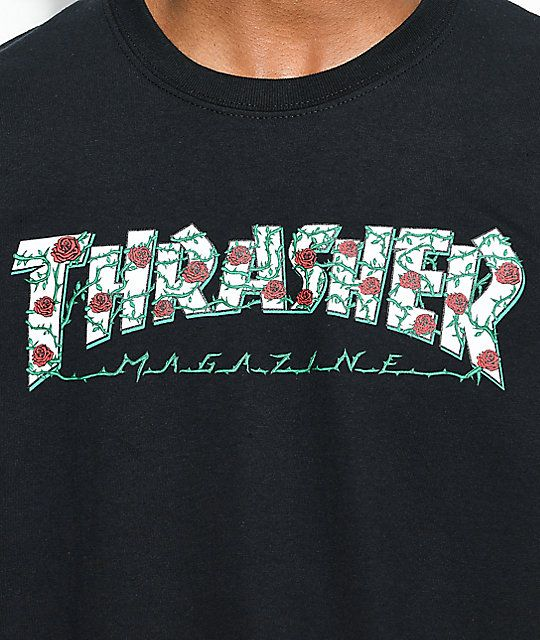76d3730c5396 Thrasher Roses Black T-Shirt in 2019 | Outfits:(: | Thrasher outfit ...
