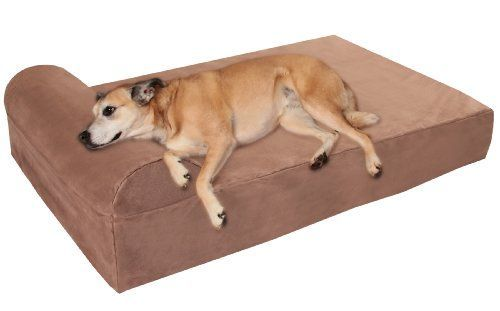 """Big Barker 7"""" Pillow Top Orthopedic Dog Bed - Large Size - 48 X 30 X 7 - Khaki - For Large and Extra Large Breed Dogs (Headrest Edition)"""
